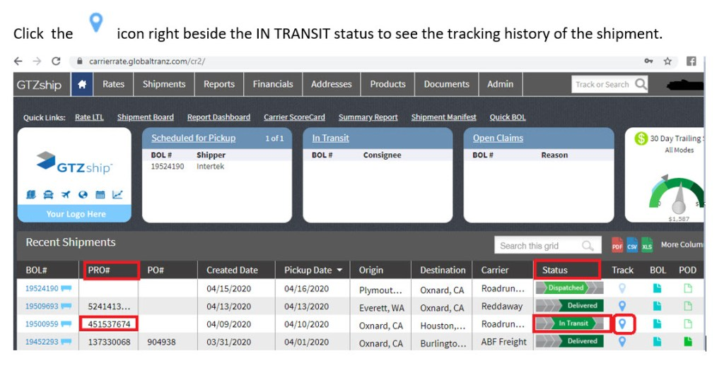 Pro Number Tracking in automated TMS