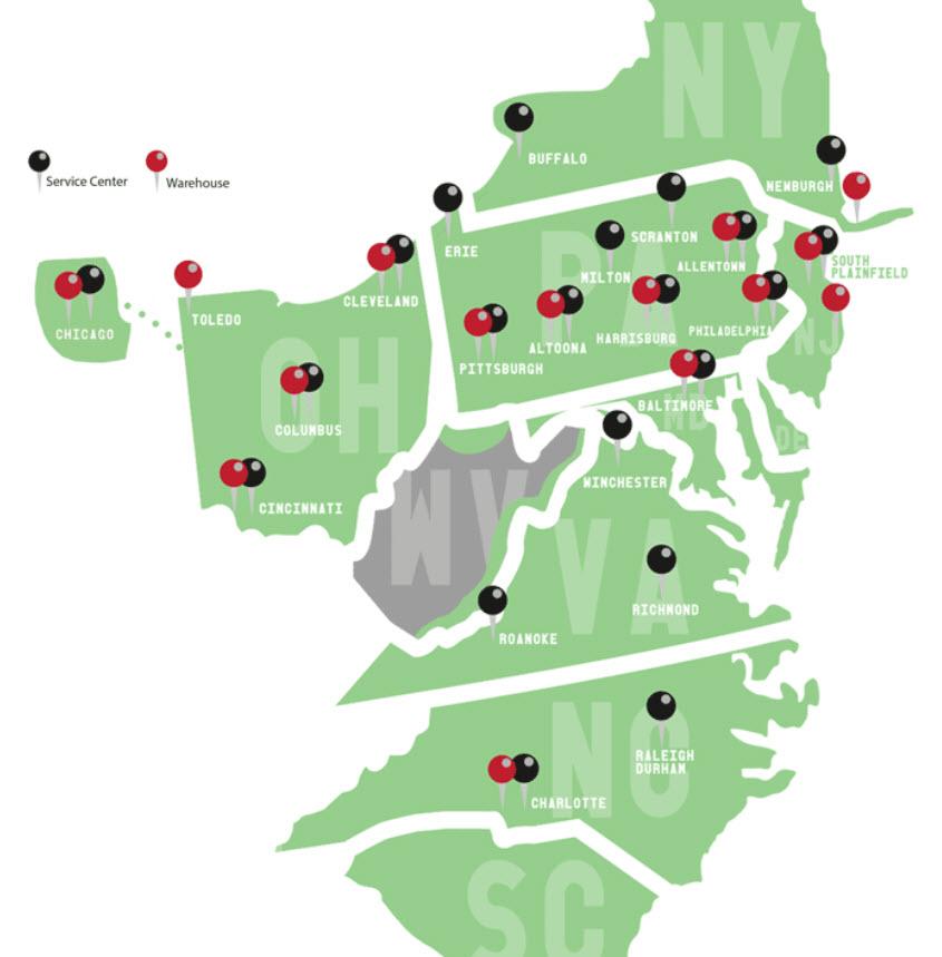 ward trucking service area map
