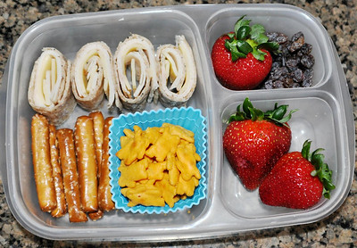 Turkey and cheese roll ups on a multigrain tortilla, pretzel rods, chedder bunnies, strawberries and raisins. Thanks to Amanda of lunchbox limbo  http://bit.ly/dkmSjJ for this one!
