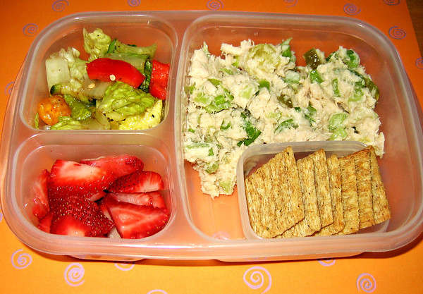 Tuna salad with crunchy celery tastes great on top of Triscuit crackers. Served with a salad and strawberries.