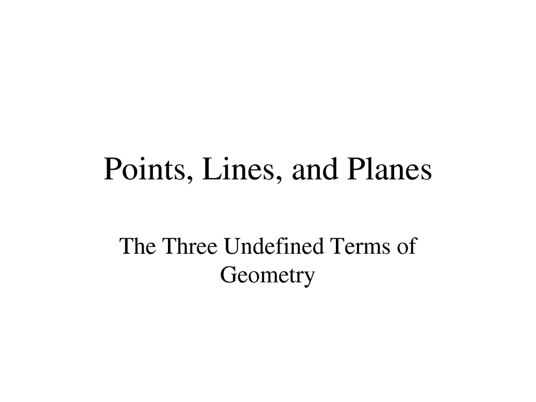 Undefined Terms In Geometry