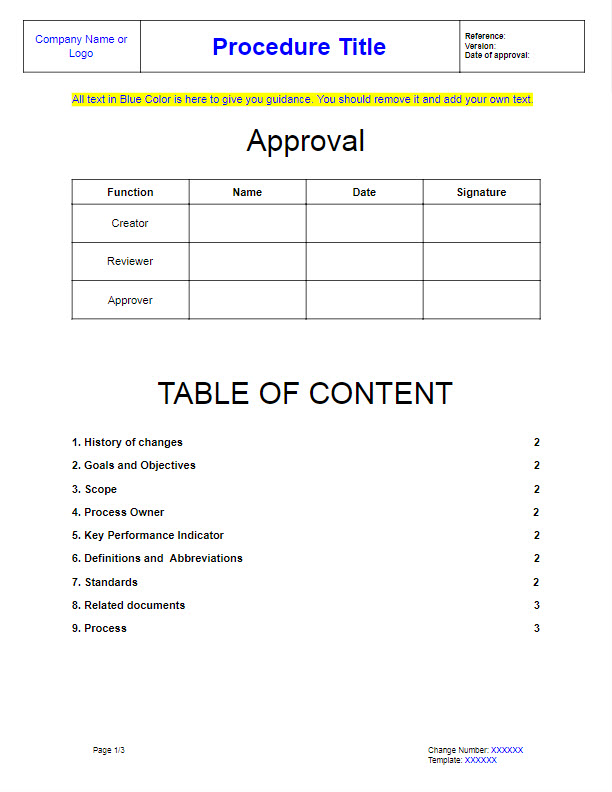 Best Tips ISO Procedures With Our Free Template Ver - Standards document template