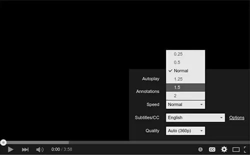 Settings to Speed up Youtube Videos