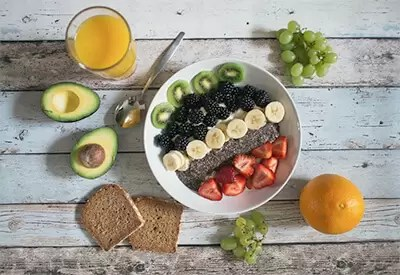 Healthy eating - fruit salad and toast