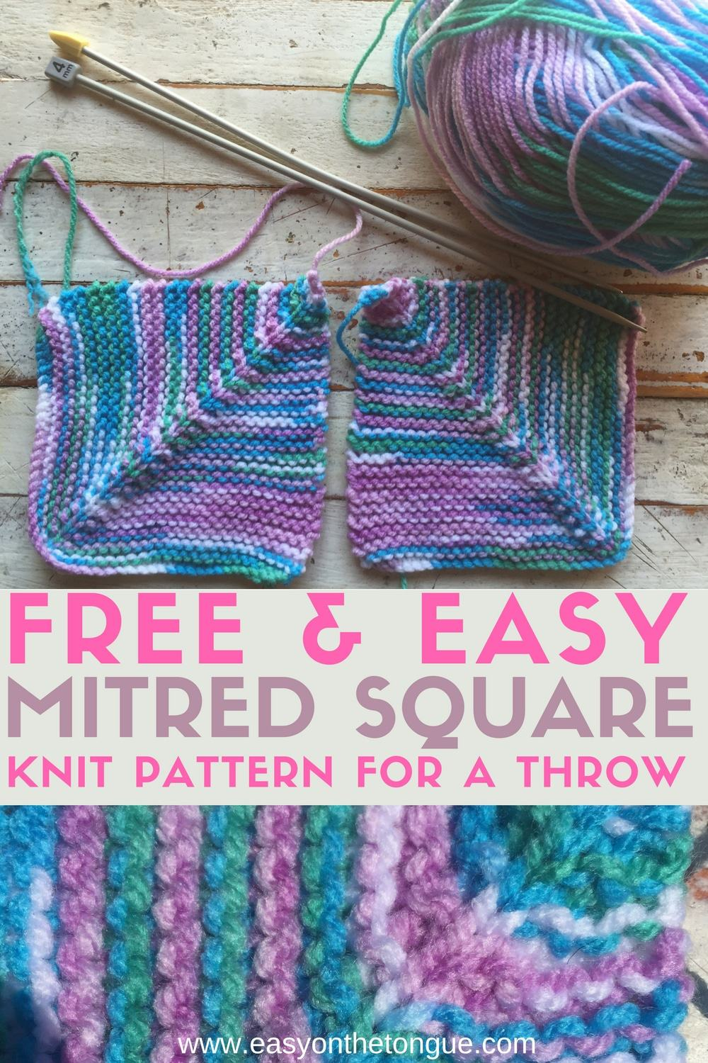 edf4b5bc4793 Free Easy Knit Square Pattern to Make a Quick Throw