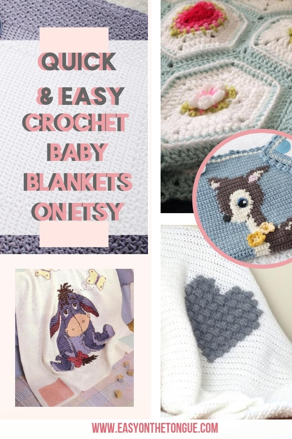 Quick and Easy Crochet Baby Blanket Patterns on Etsy to make