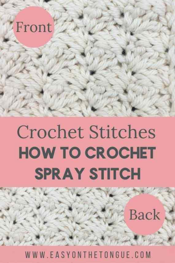 Aprende a tejer una puntada con spray de crochet en una puntada combinada de sc y dc.  La puntada es fácil y crea una puntada texturizada en columnas.  spraystitch crochetstitch easycrochetstitch Crochet Spray Stitch, una puntada de crochet texturizada fácil
