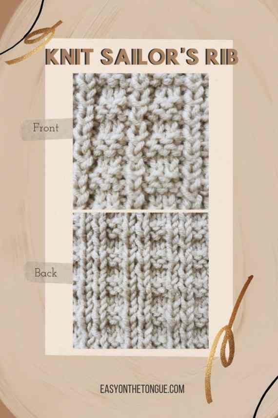 Cómo tejer Sailors Rib Stitch un patrón de punto de punto.  Patrón en easyonthetongue.com 1 Cómo tejer Sailors Rib, una alternativa fácil
