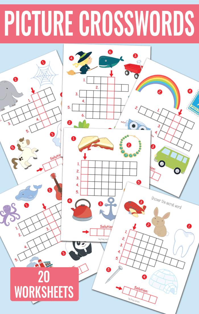 Picture Crossword Puzzles Kindergarten And Grade 1