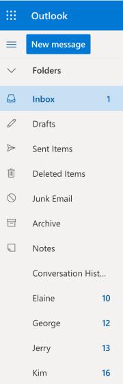Mailbox folder structure