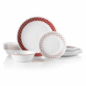 Corelle 18-Piece Service for 6, Chip Resistant, Crimson Trellis Dinnerware Set