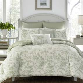 Laura Ashley Natalie Green Floral Comforter Bonus Set - Twin