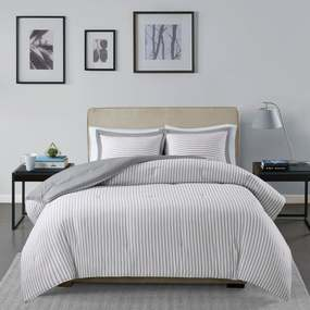 Madison Park Essentials Braydon Reversible Yarn Dyed Stripe Down Alternative Comforter Set - Twin