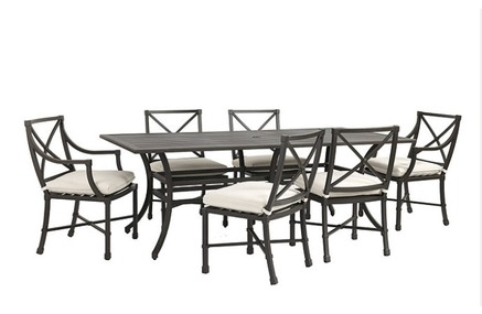"Suzanne Kasler Directoire 7-Piece 84"" Rectangular Dining Set with Cushions"