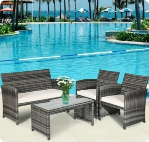 4 Pcs Patio Rattan Furniture Set Top Sofa With Glass Table