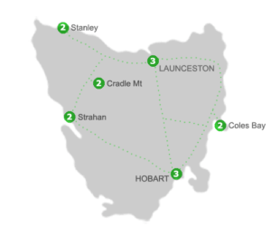 Tasmania Holiday Package Accommodation Locations for 14 Nights
