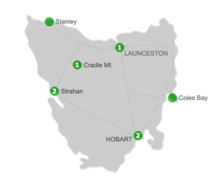 Tasmania Holiday Package Accommodation Locations for 5 Nights