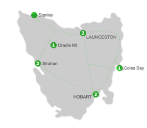 Tasmania Holiday Package Accommodation Locations for 8 Nights