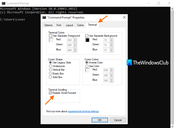 disable scroll forward command prompt