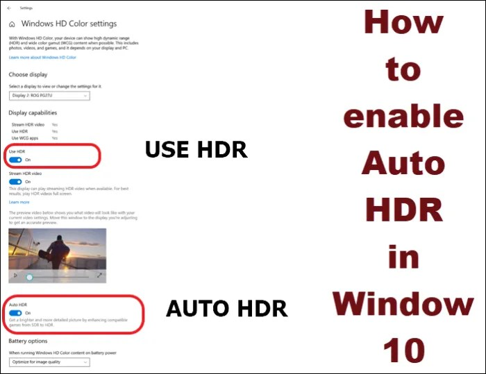 How to enable Auto HDR in Window 10