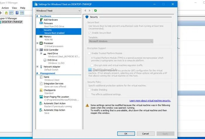 Security settings are Grayed out in Hyper-V