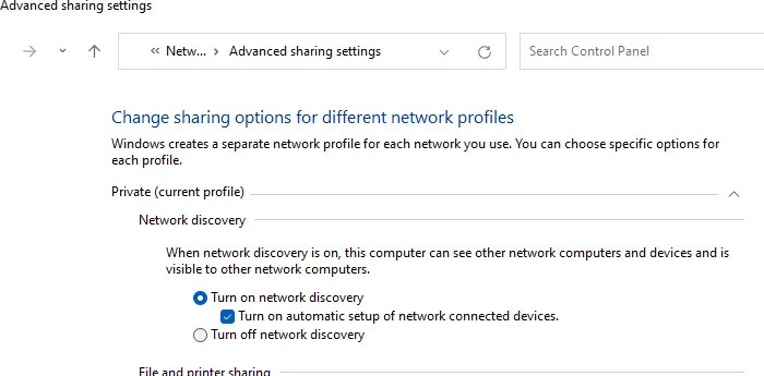 Turn on Network discovery Windows