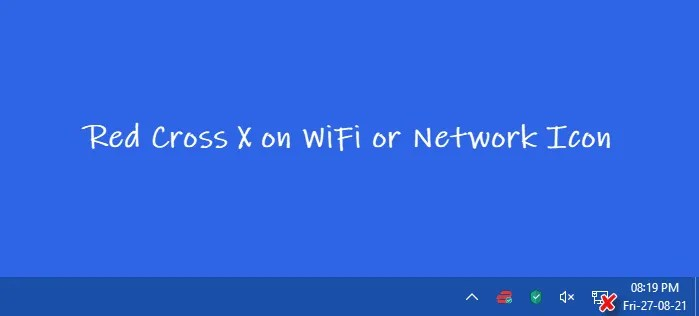 Red Cross X on WiFi or Network Icon