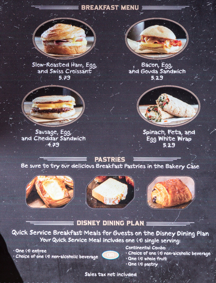 menu main street bakery starbucks