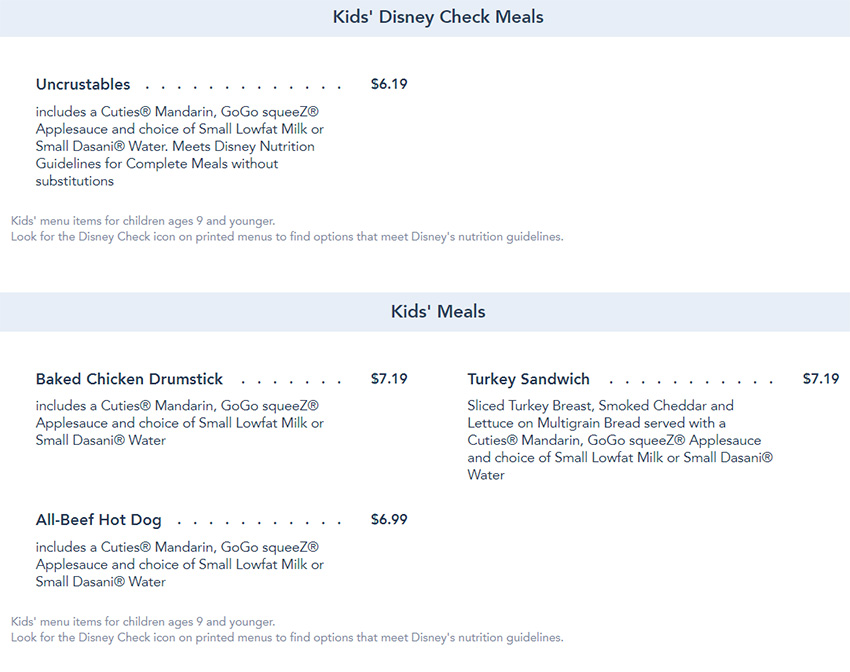 Flame Tree Barbecue Kids Menu