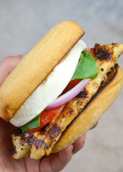 This Caprese Chicken Sandwich is loaded with Balsamic Grilled Chicken, fresh tomatoes and mozzarella and an easy pesto mayo!