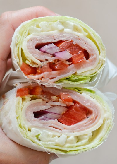 These Ham and Swiss Lettuce Wraps are the perfect way to shake up your lunch routine! At about 4 net carbs these wraps are low carb and keto-friendly!
