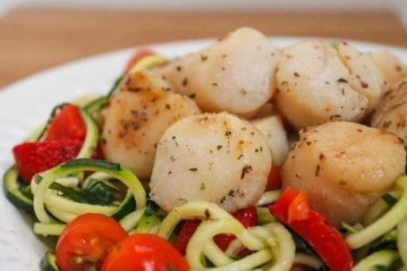 Warm Seared Scallops over Zucchini Noodles - Eat Spin Run Repeat