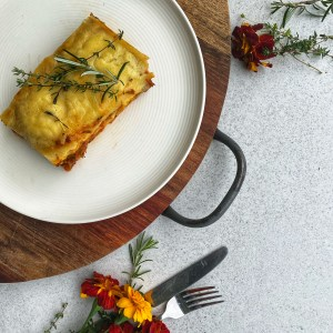 Pumpkin Lasagne packed with seasonal vegetables and lentils