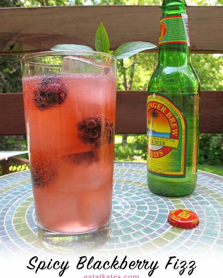 Spicy Blackberry Tequila Fizz | eatatkates.com - A bubbly balance of jalapeno, blackberry, and ginger in this summery, spicy tequila fizz.
