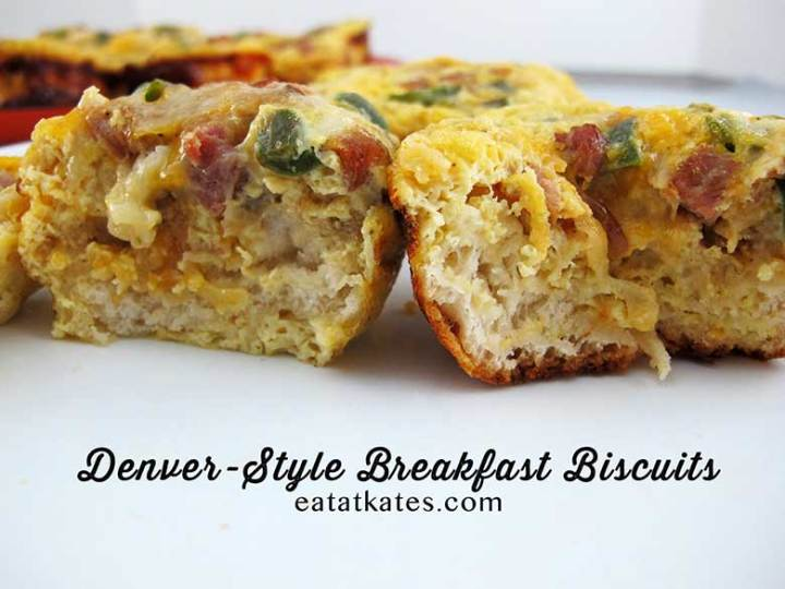 Breakfast Biscuits | eatatkates.com These biscuits make breakfast (or snacking) a snap. Pick any combo of meat, veggies, and cheese you like, bake them and store for easy on-the-go eating!
