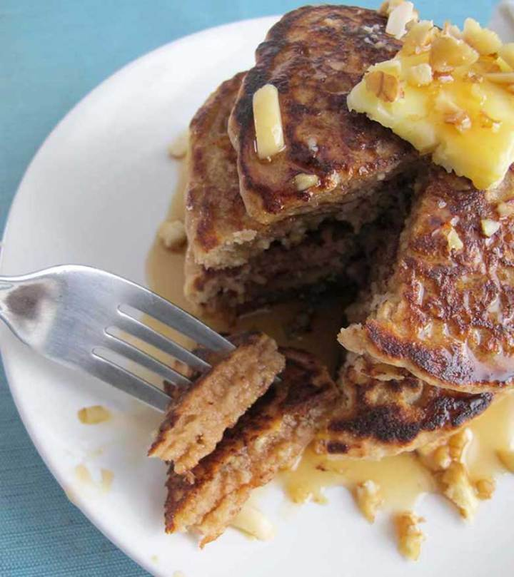 Honey-Nut Whole Grain Pancakes | eatatkates.com - Pancakes filled with oats, almonds, walnuts, & a touch of honey.