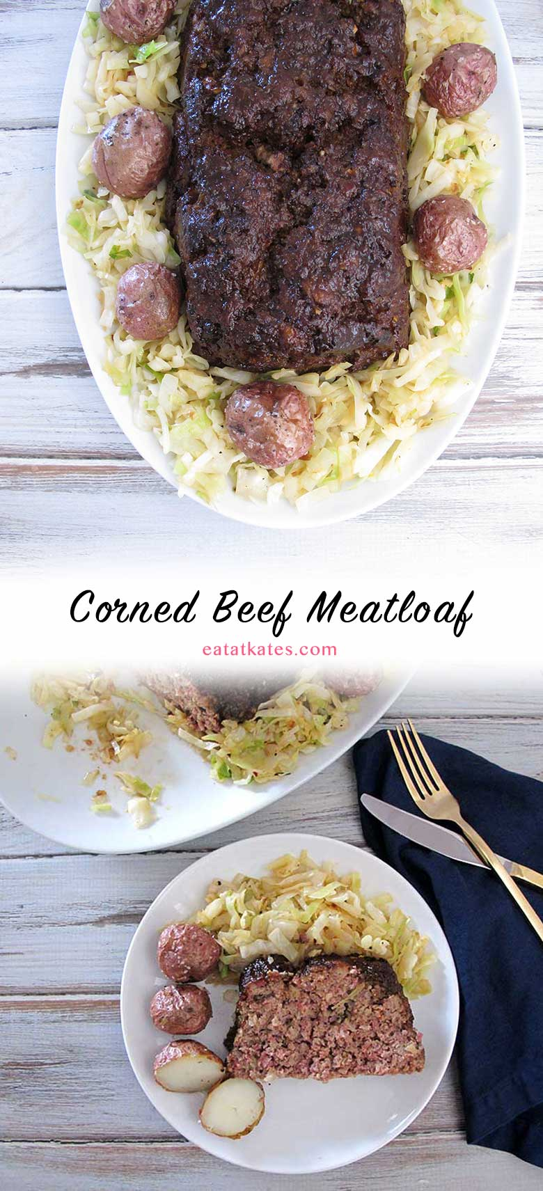 Corned Beef Meatloaf | eatatkates.com - Take that leftover corned beef and put it to use in something other than boring (although delicious) sandwich. Mix it up into meatloaf that'll keep St. Patrick's day going.