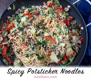 Spicy Potsticker Noodles | eatatkates.com - Spice up your winter with a warm bowl of Spicy Potsticker Noodles. Soy, sesame, ginger & garlic make these a knock-out bowl of deliciousness.