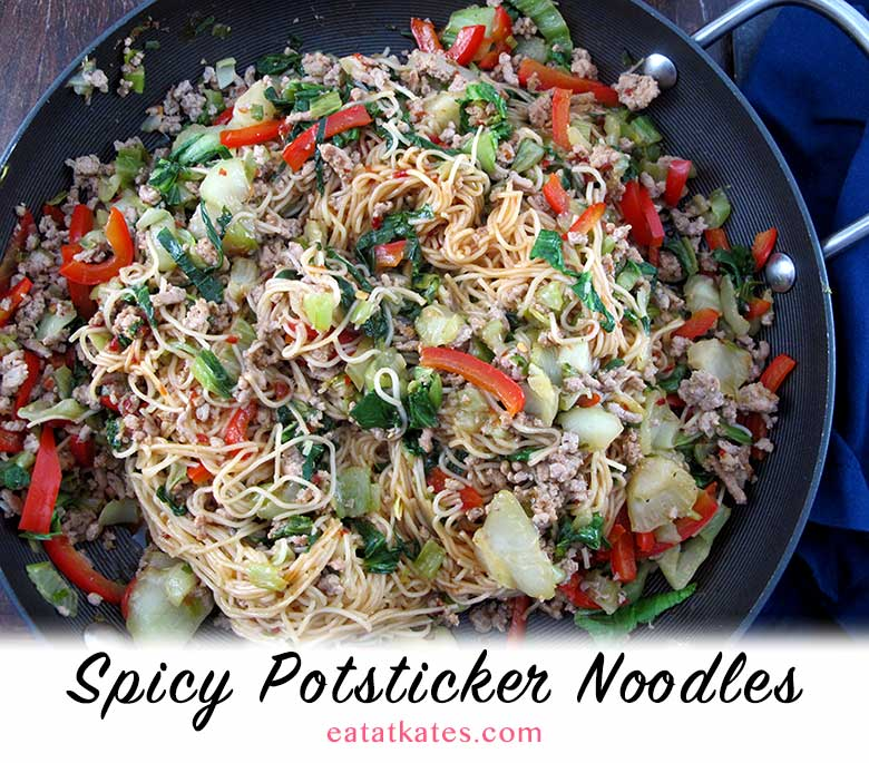 Spicy Potsticker Noodles   eatatkates.com - Spice up your winter with a warm bowl of Spicy Potsticker Noodles. Soy, sesame, ginger & garlic make these a knock-out bowl of deliciousness.