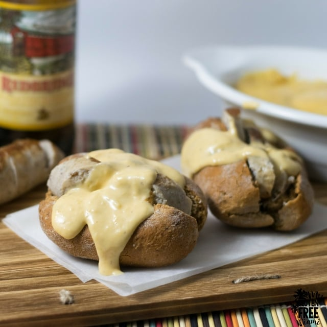 Gluten Free Cheese Sauce covers delicious gluten free beer braised bratwurst.