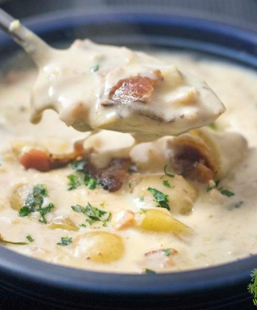 Gluten Free Clam Chowder with Bacon is the perfect way to warm up during the winter! Creamy, hearty and flavorful, it is the perfect soup!