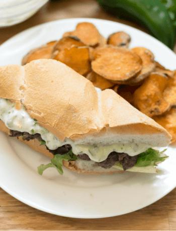 gluten free skirt steak sandwich with jalapeno cilantro aioli and sweet potato chips