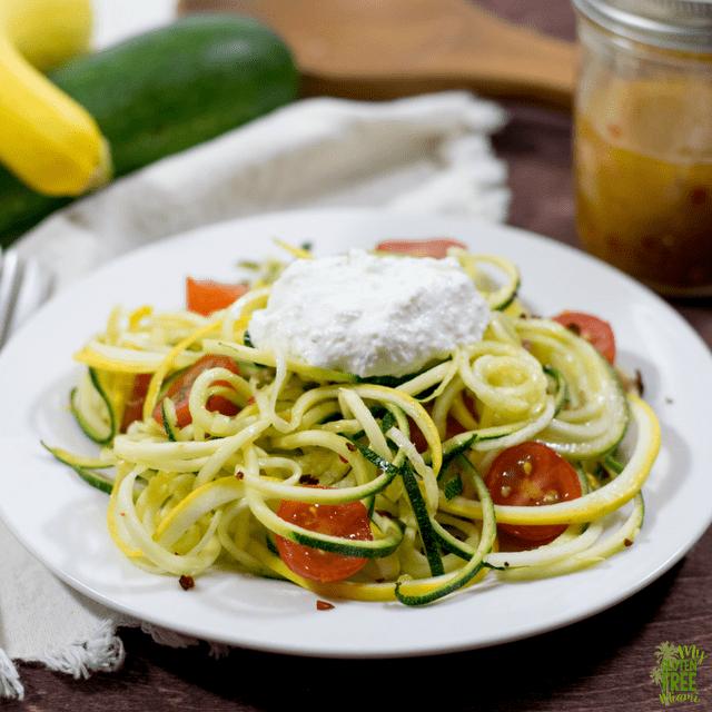 Summer Veggie Zoodles with Red Pepper Lemon Vinaigrette
