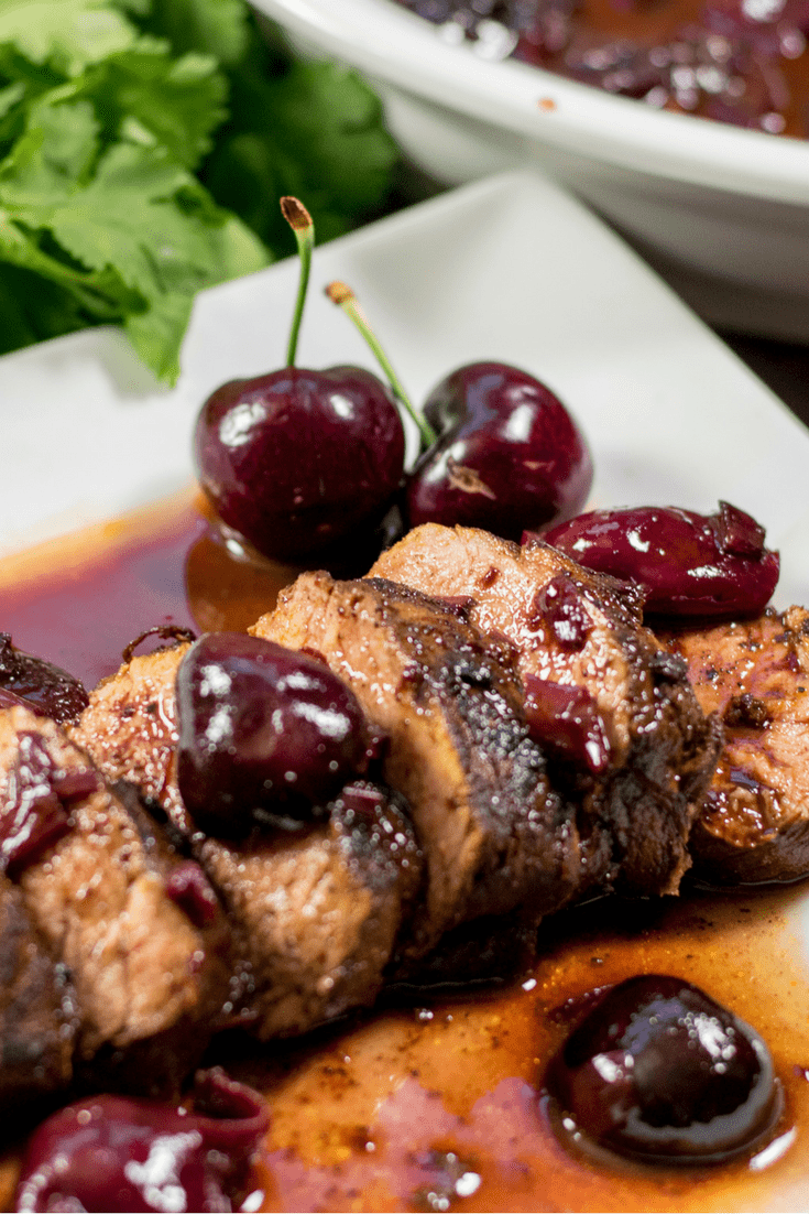 Coffee Crusted Pork Tenderloin with Cherry Red Wine Sauce