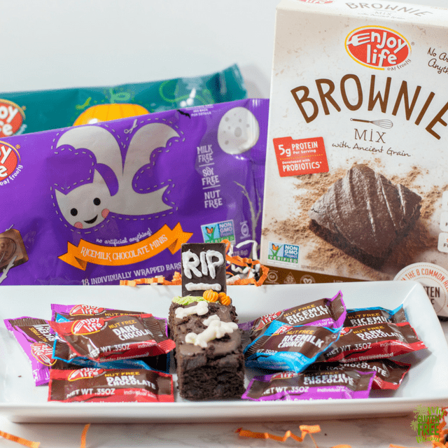 Gluten Free Spooky Tombstone Brownie with Enjoy Life Brownie Mix