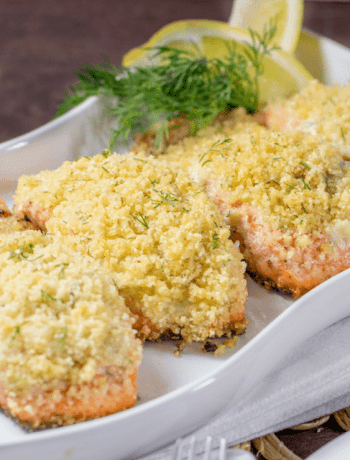 Gluten Free Lemon Dill Panko Crusted Salmon