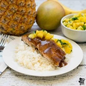 Pineapple Mango Glazed Salmon