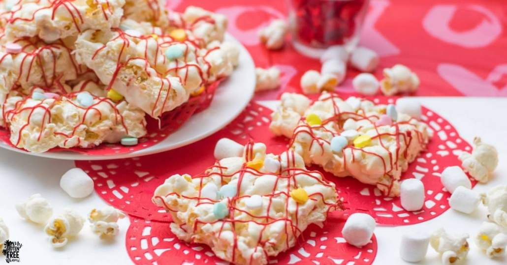 Gluten Free Marshmallow Popcorn Bars being served on a plate.