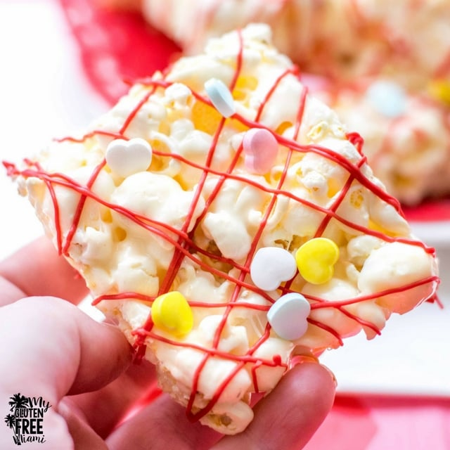 close up shot of marshmallow popcorn bars