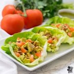 Cilantro Lime Chicken Salad Lettuce Cups on serving plate
